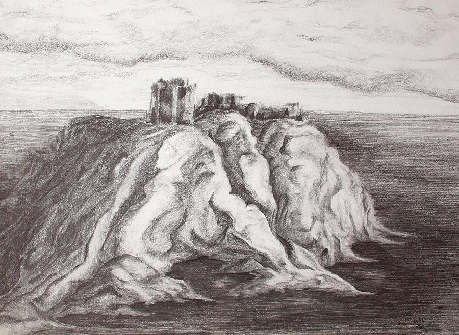 Castle Painting - Dunnottar Castle by Sheep McTavish