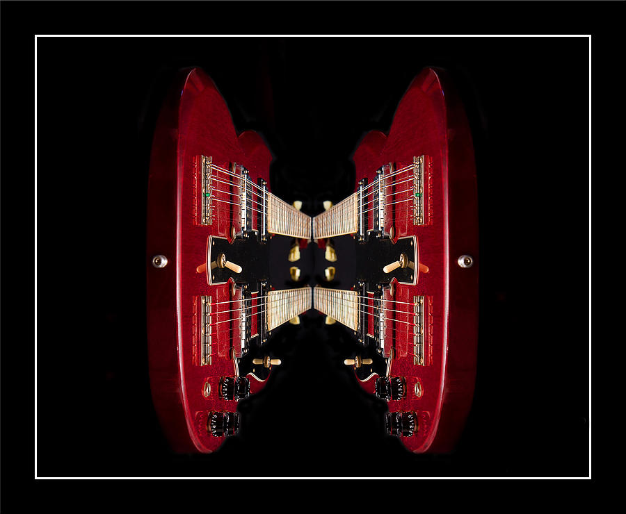 Twin Photograph - Duo-neck Red Guitar by Trudy Wilkerson