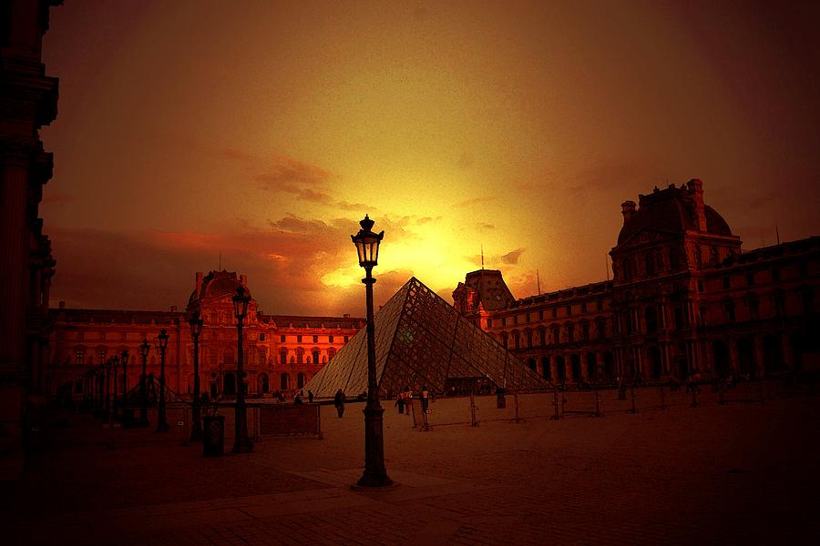 Louvre Digital Art - Dusk At The Louvre by Carrie OBrien Sibley