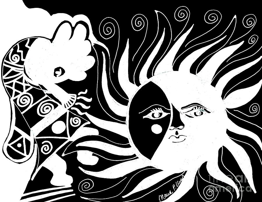 Dusk Drawing - Dusk Dancer - Inverted by Maria Urso