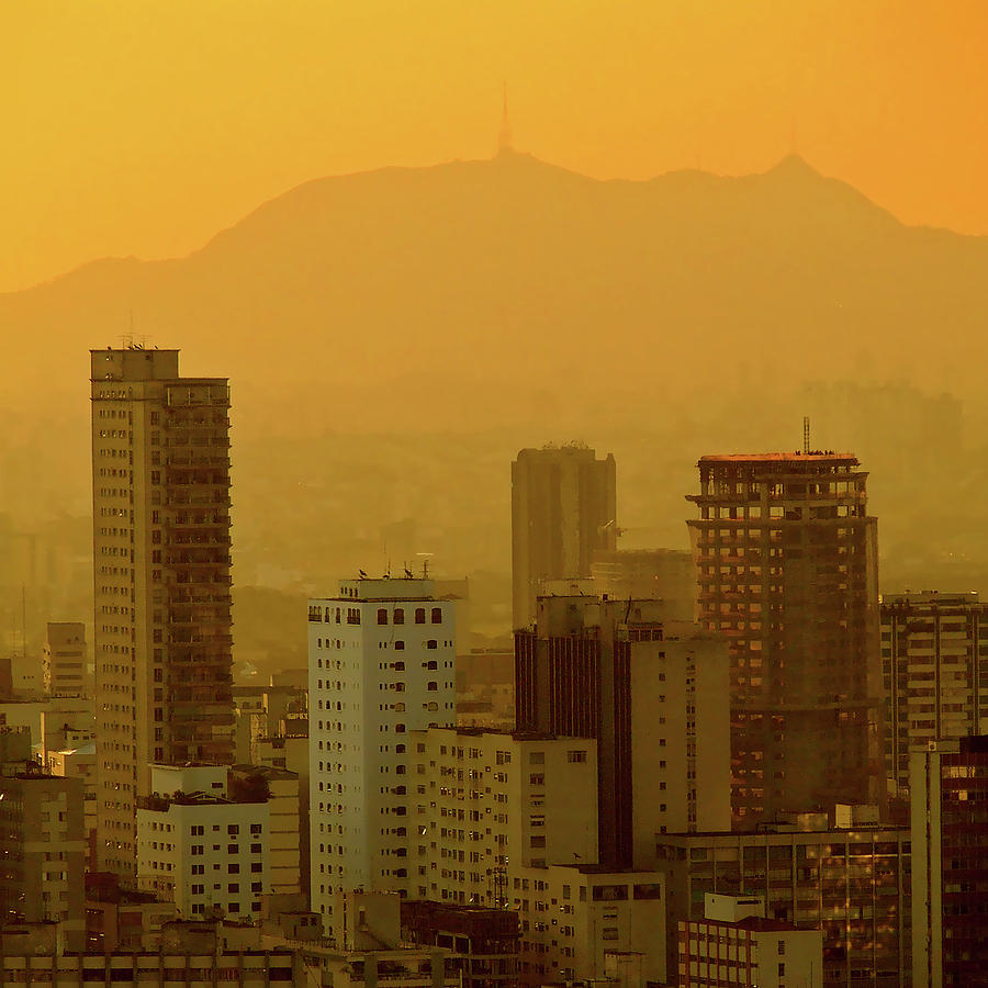 Square Photograph - Dusk In Sao Paulo, Brazil by Alex Joukowski