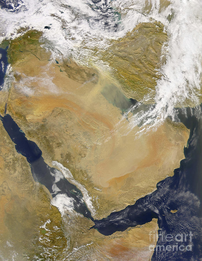 Topography Photograph - Dust And Smoke Over Iraq And The Middle by Stocktrek Images