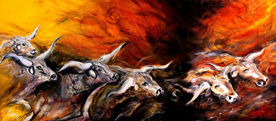 Longhorn Painting - Dust Storm by J Vincent Scarpace