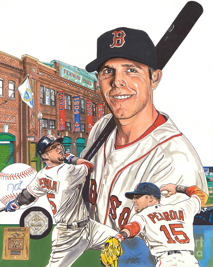 Boston Red Sox Drawing - Dustin Pedroia by Neal Portnoy