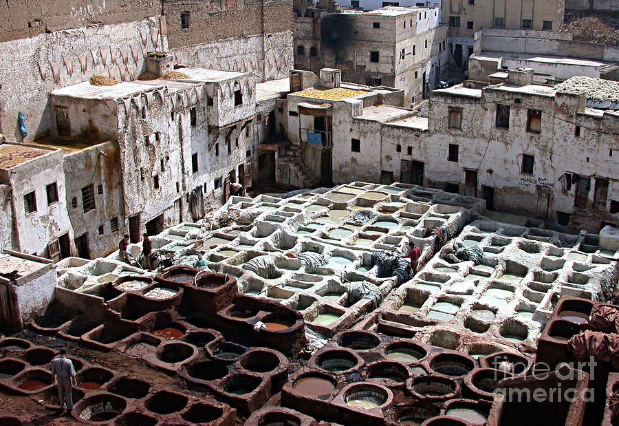 Ancient Photograph - Dyeing Vats Of Fez by Steve Goldstrom