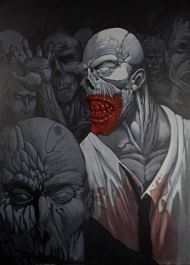 Zombie Painting - E Pluribus Unum by Jake Perez
