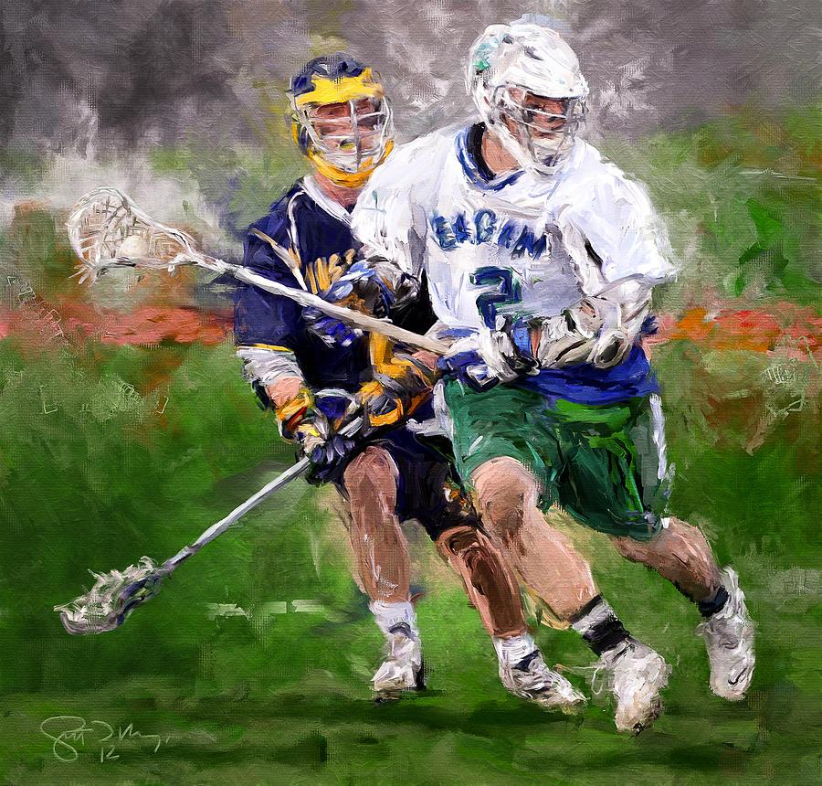 Lacrosse Painting - Eagan Midfielder by Scott Melby