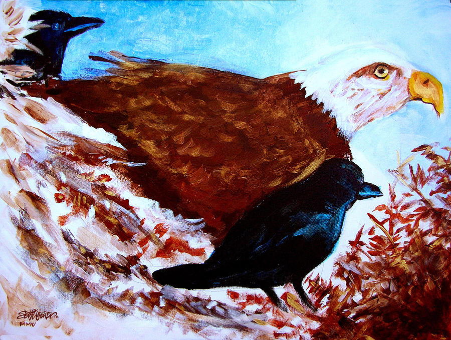 Acrylic Painting Painting - Eagle And Ravens by Seth Weaver