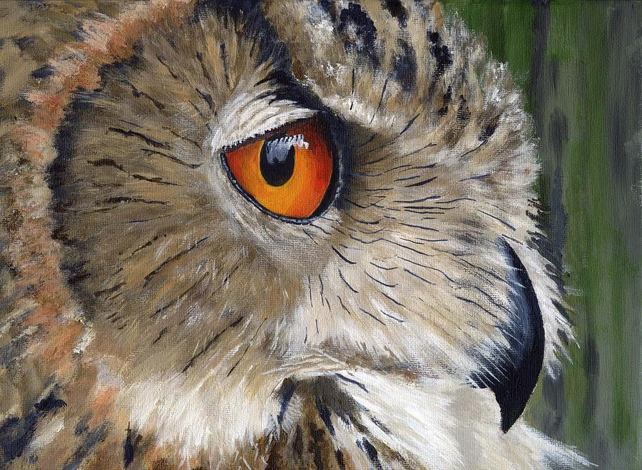 African Painting - Eagle Owl by Mike Lester