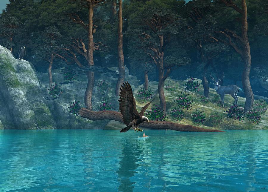Eagle Digital Art - Eagle River by Walter Colvin