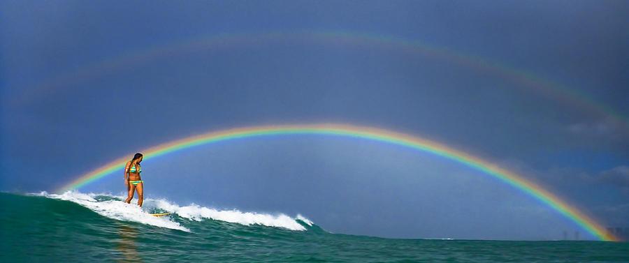 Surfing Photograph - Ealy morning rainbow surf by Li Ansefelt Thornton
