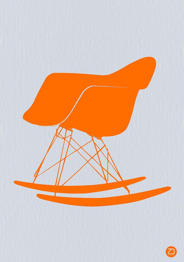 Stool Photograph - Eames Rocking Chair Orange by Naxart Studio