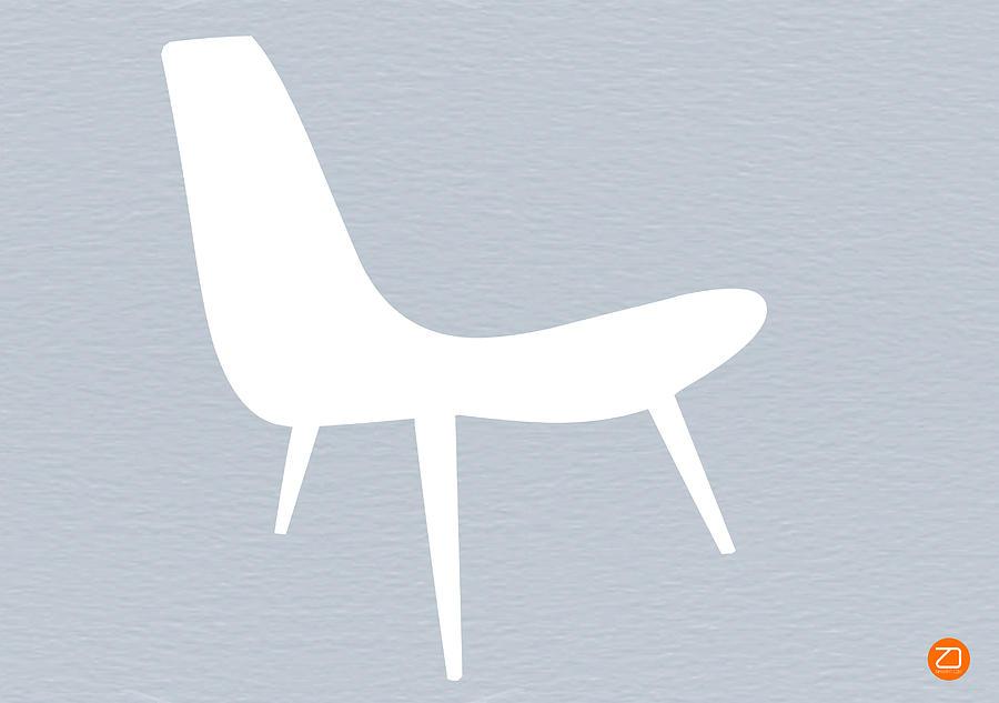 Eames Chair Digital Art - Eames White Chair by Naxart Studio