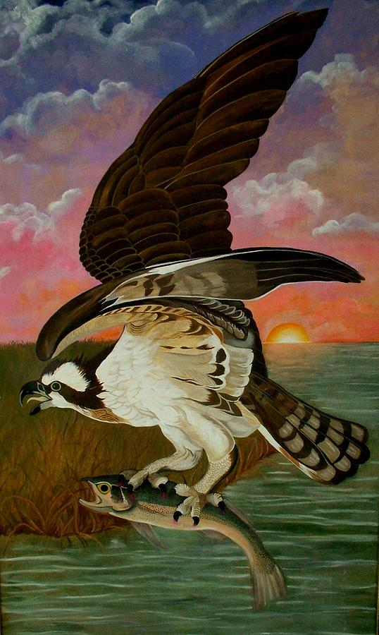 Osprey Painting - Early Catch-sunrise On The Ogeechee by Teresa Grace Mock