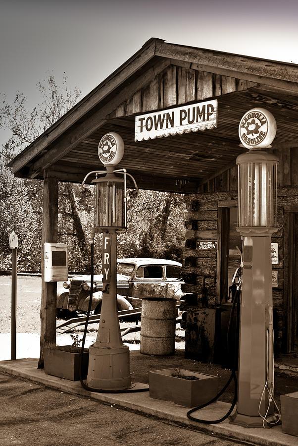 Gas Photograph - Early Gas Station by Douglas Barnett