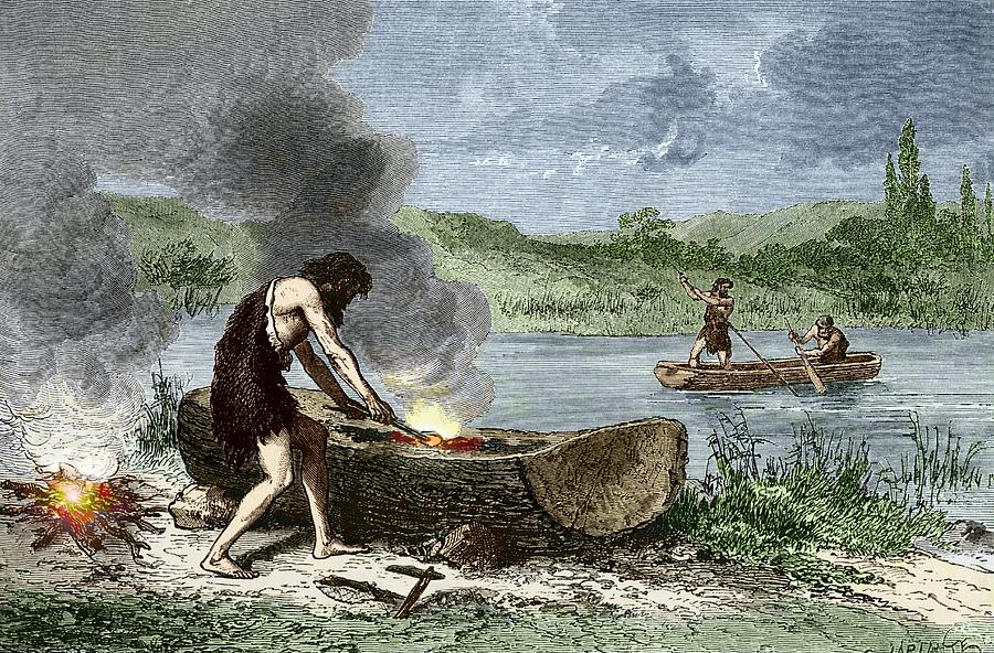 Early Humans Building And Using Boats Photograph By Sheila