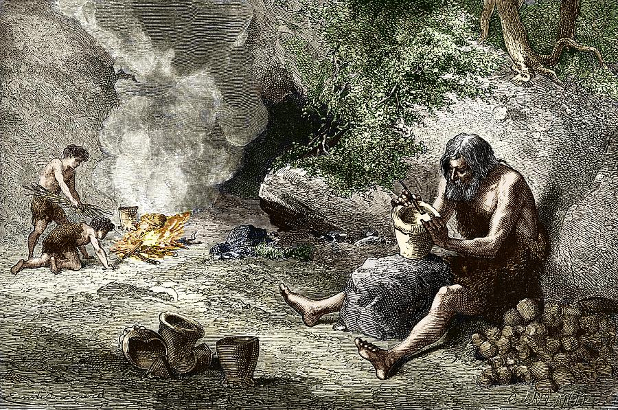 Human Photograph - Early Humans Making Pottery by Sheila Terry