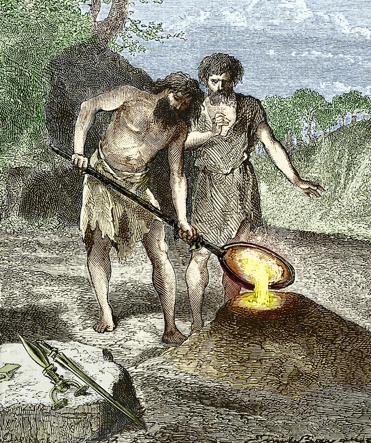 Bronze Photograph - Early Humans Smelting Bronze by Sheila Terry
