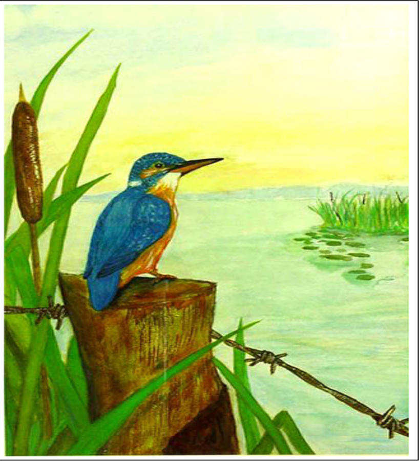 Birds Painting - Early Morning Fisher by Peter Edward Green