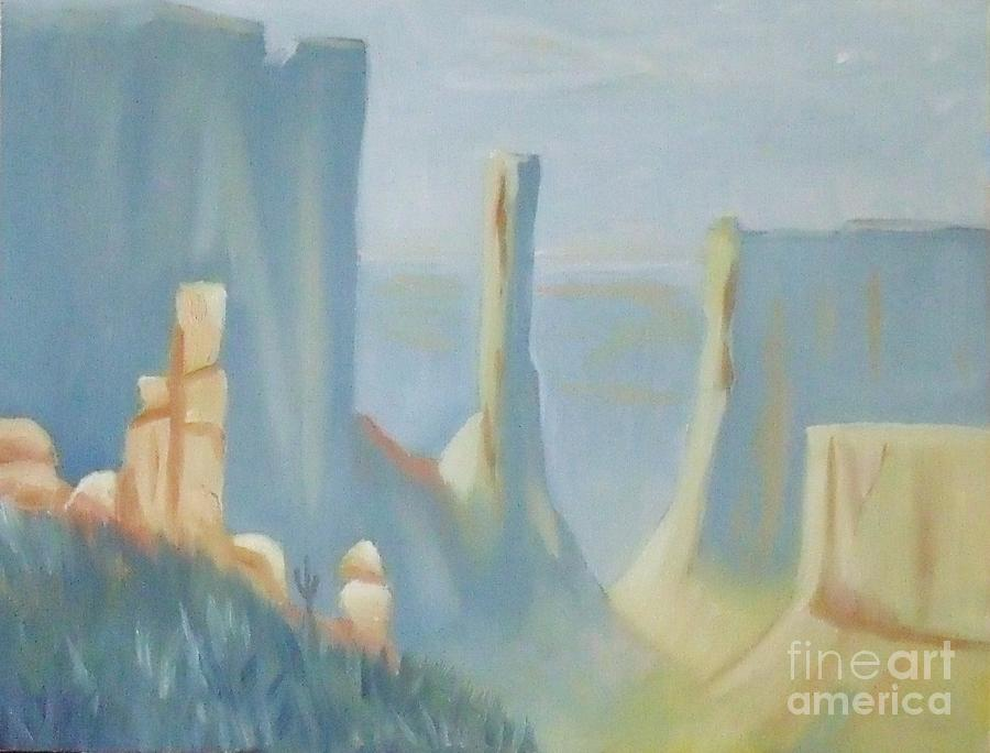 Landscape Painting - Early Morning In The Canyon by Debra Piro