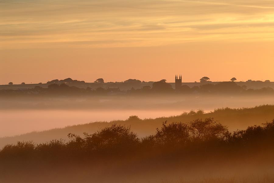 Building Photograph - Early Morning Mist, Bradworthy, North by Ross Hoddinott
