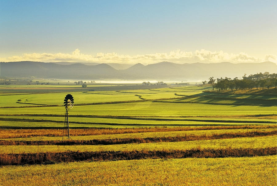 Horizontal Photograph - Early Morning Pastoral Scene With Keyline Plowing Near Warwick, Queensland, Australia by Peter Walton Photography