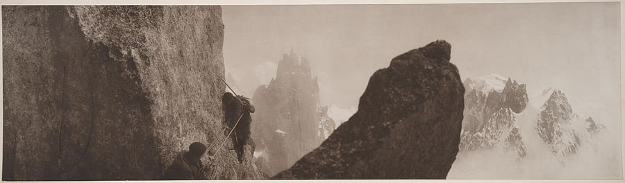 Black And White Photograph - Early Mountaineering In The Alps by Georges Tairraz