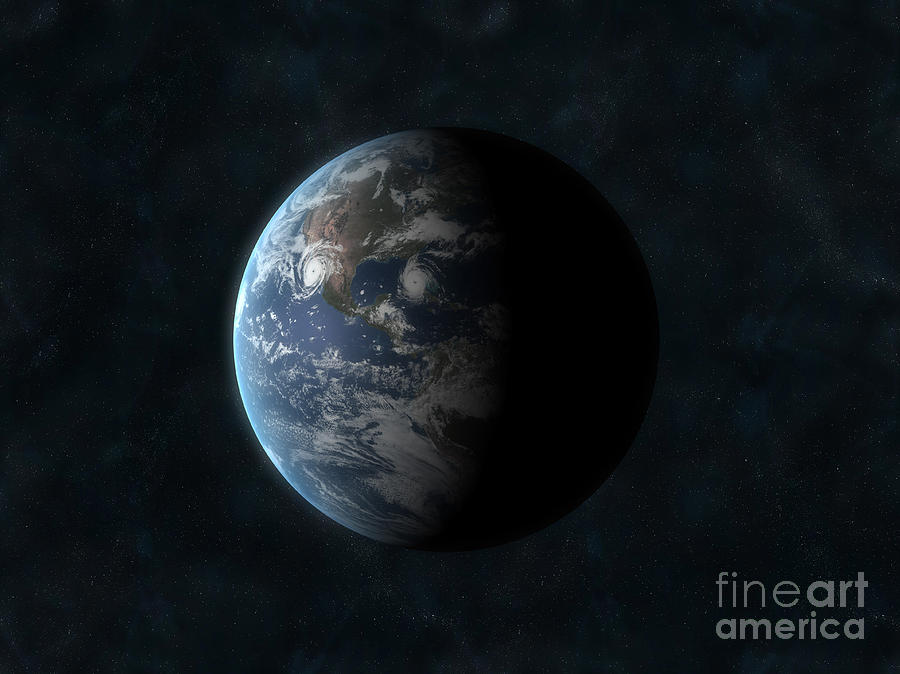 Horizontal Digital Art - Earth by Carbon Lotus