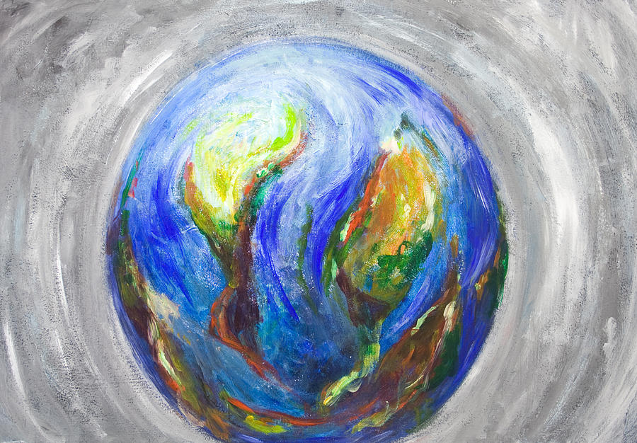Abstract Earth Painting - Earth In The Cradle by Kazuya Akimoto