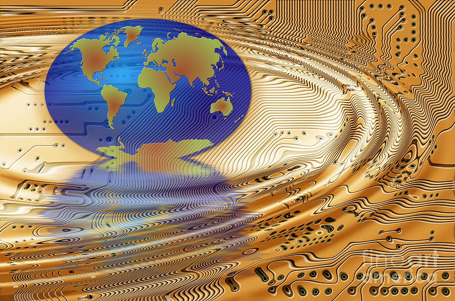 Communication Digital Art - Earth In The Printed Circuit by Michal Boubin