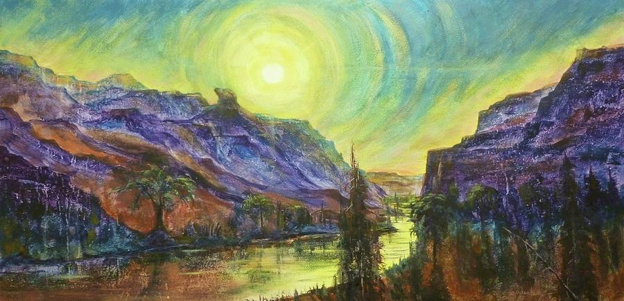 Butte Painting - Earth Light Series Wolf Butte Sun by Len Sodenkamp