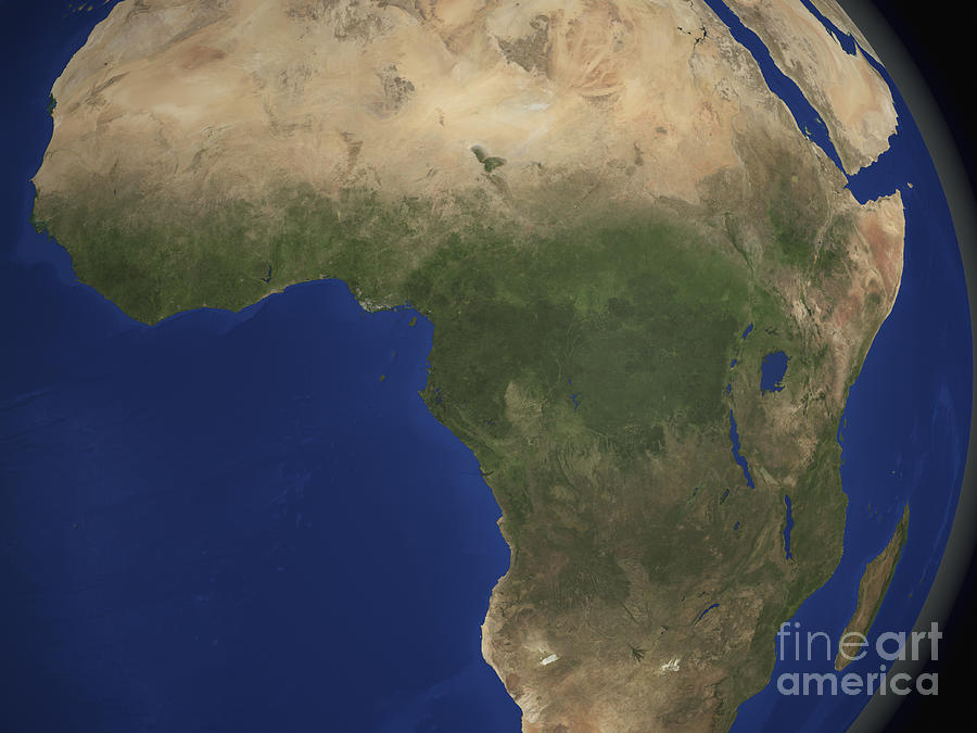 Country Photograph - Earth Showing Landcover Over Africa by Stocktrek Images