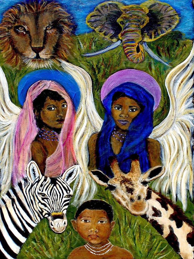 Africa Painting - Earthangels Abeni And Adesina From Africa by The Art With A Heart By Charlotte Phillips