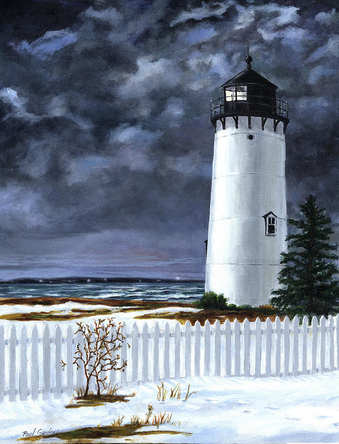East Chop Light Winter by Paul Gardner