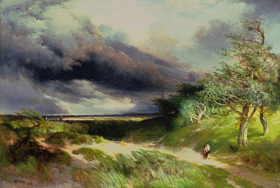 East Hampton Painting - East Hamptonlong Island Sand Dunes by Thomas Moran