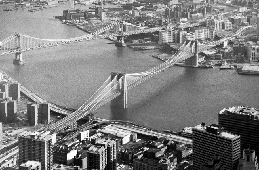 1980s Photograph - East River Bridges New York by Gary Eason