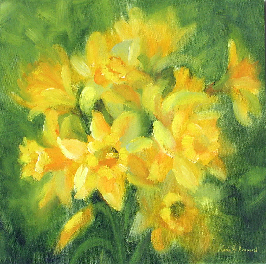 Daffodils Painting - Easter Daffodils by Karin  Leonard