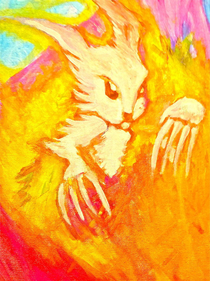 Evil Bunny Painting - Easter Earthquake by Zitlalli Rodriguez