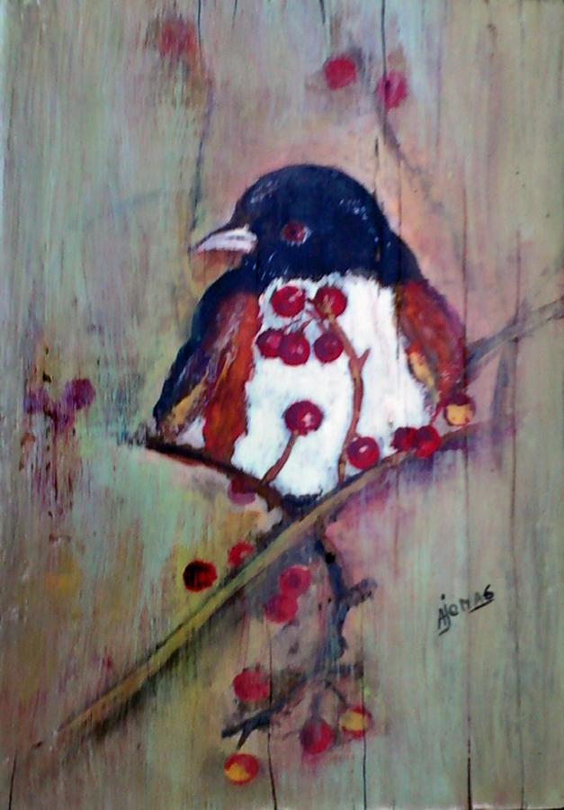 Bird Painting - Easter Towhee by Amalia Jonas