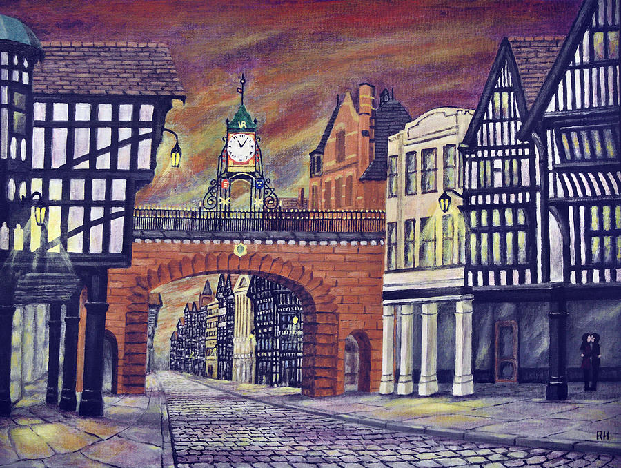 Historical Painting - Eastgate Clock - Chester by Ronald Haber