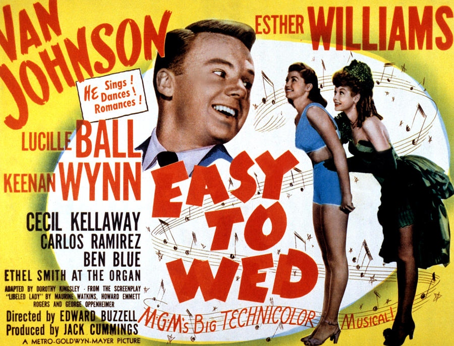 1940s Movies Photograph - Easy To Wed, Van Johnson, Esther by Everett