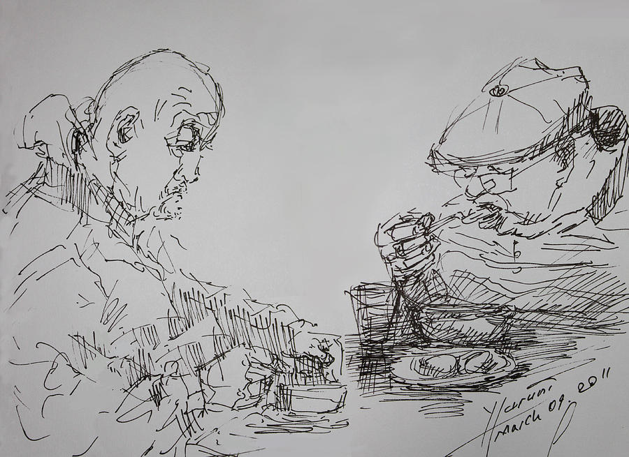 Eaters Drawing - Eaters by Ylli Haruni