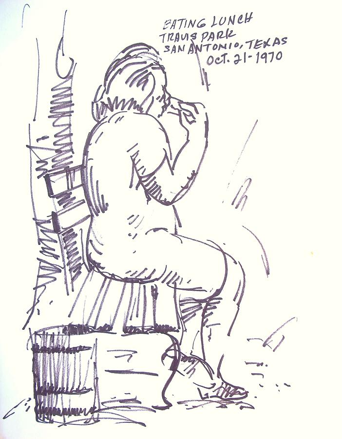 Woman Drawing - Eating Lunch In Travis Park by Bill Joseph  Markowski