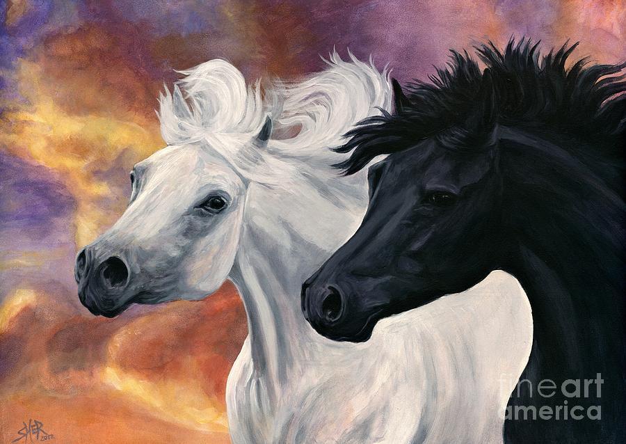 Arabian Horse Painting - Ebony And Ivory by Sheri Gordon