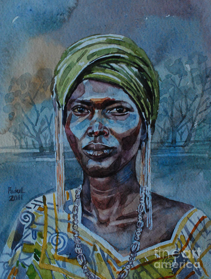 Ebony Girl Painting - Ebony Girl by Mohamed Fadul