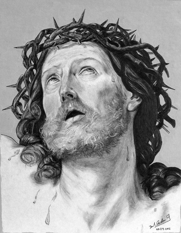 Ecce Homo Drawing - Ecce Homo by Miguel Rodriguez