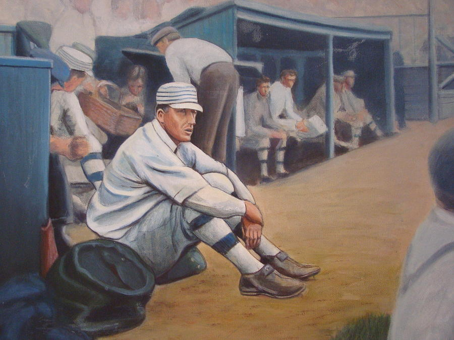 Baseball Painting - Eddie Plank Waiting by Mark Haley