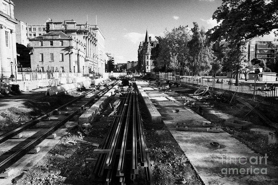 Edinburgh Photograph - Edinburghs New Tram System Under Construction In St Andrews Square Scotland Uk United Kingdom by Joe Fox