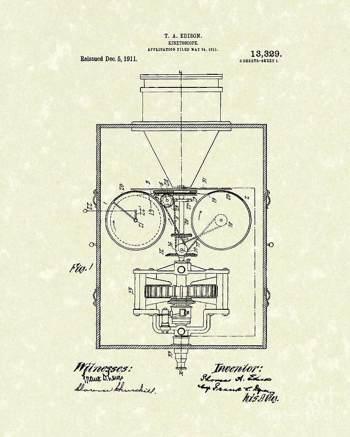 Edison Drawing - Edison Kinetoscope 1911 I Patent Art by Prior Art Design