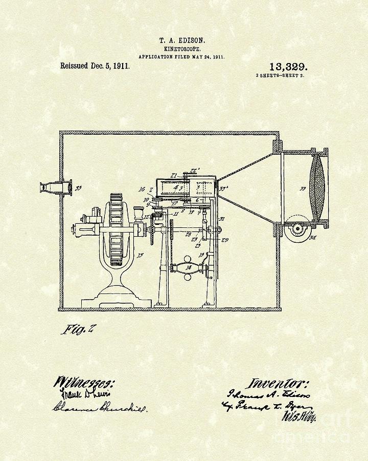 Edison Drawing - Edison Kinetoscope 1911 II Patent Art  by Prior Art Design